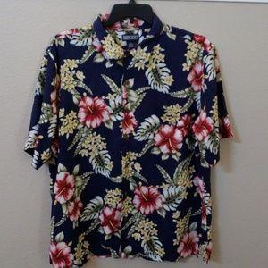 Lands End short sleeve blue Hawaiian shirt size XL